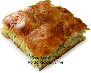 Large Or Small Pies Of Puff Pastry Yeast Dough Crust Filled With Salmon Fresh Cooked Salted Smoked Rice Onion And Chopped Hard Boiled Eggs